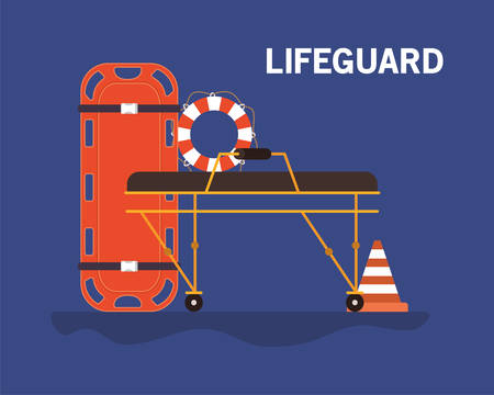 Stretcher cone and lifebuoy design, Emergency rescue save department danger help safety and aid theme Vector illustration  イラスト・ベクター素材