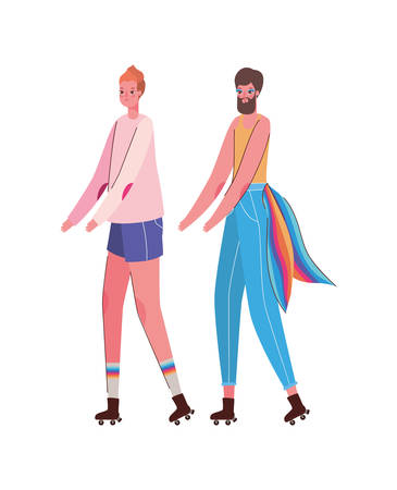 Woman and man cartoon with costume and lgtbi flag design, Pride day love sexual orientation and identity theme Vector illustration Vettoriali