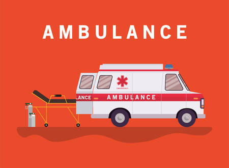 Ambulance stretcher and oxygen cylinders design, Life guard emergency and rescue theme Vector illustration