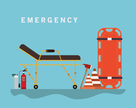 Stretcher cones axe firefighter and oxygen cylinder design, Emergency rescue save department 911 danger help safety and aid theme Vector illustration 写真素材 - 148897317