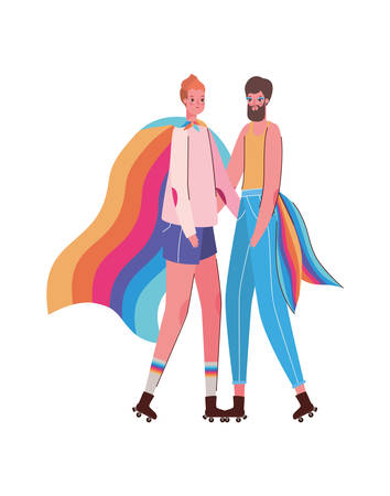Woman and man cartoon with costume and lgbt flag design, Pride day love sexual orientation and identity theme Vector illustration Vettoriali