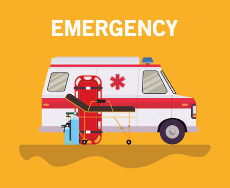Ambulance stretcher and oxygen cylinders design, Life guard emergency and rescue theme Vector illustration 写真素材 - 148902291