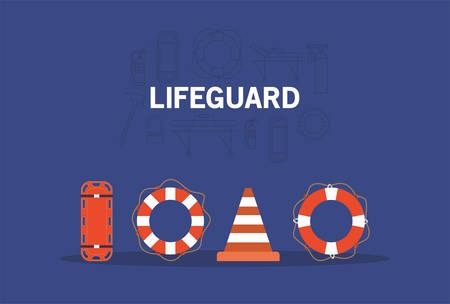 Stretcher cone and lifebuoy design, Emergency rescue save department 911 danger help safety and aid theme Vector illustration