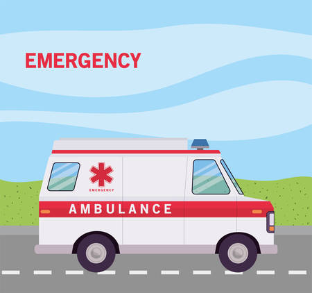 Ambulance on street design, Life guard emergency and rescue theme Vector illustration
