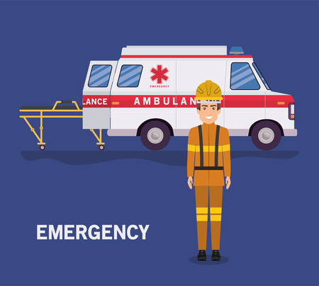 Ambulance stretcher and firefighter design, Life guard emergency and rescue theme Vector illustration 写真素材 - 148909002