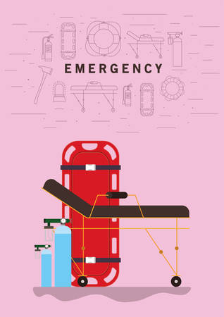 Stretcher and oxygen cylinders design, Emergency rescue save department 911 danger help safety and aid theme Vector illustration  イラスト・ベクター素材