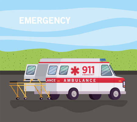 Ambulance with stretcher on street design, Life guard emergency and rescue theme Vector illustration 写真素材 - 148911478