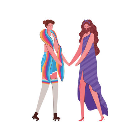 Woman and man cartoon with costume and lgtbi flag design, Pride day love sexual orientation and identity theme Vector illustration Illustration