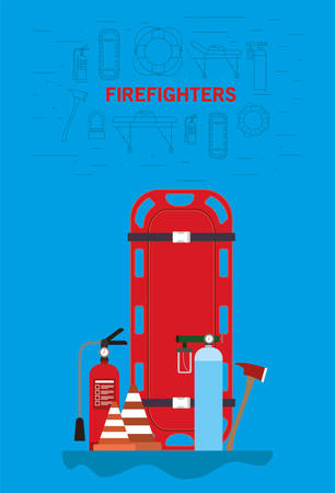 Stretcher extinguisher cones oxygen cylinders and axe design, Firefighters and emergency theme Vector illustration  イラスト・ベクター素材