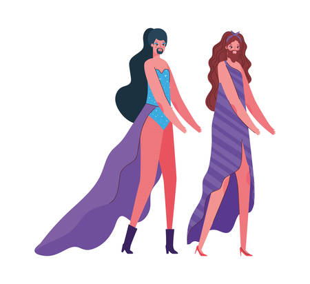 Transvestite men cartoons with costumes design, Pride day love sexual orientation and identity theme Vector illustration Illustration