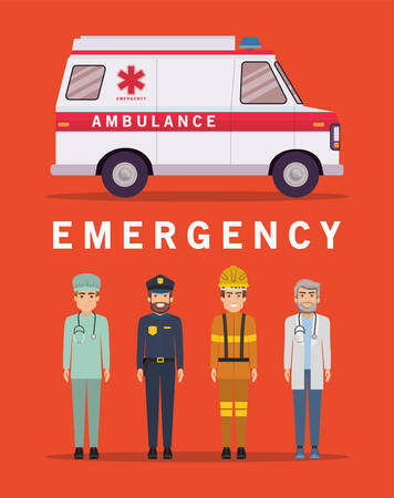 Ambulance paramedic police firefighter and doctor design, Life guard emergency and rescue theme Vector illustration 写真素材 - 148922699