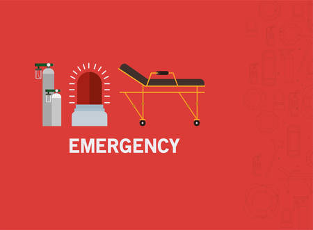Siren stretcher and oxygen cylinders design, Emergency rescue save department 911 danger help safety and aid theme Vector illustration 写真素材 - 148925472