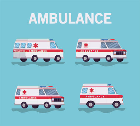 Ambulances paramedic cars side view design, Life guard emergency and rescue theme Vector illustration 写真素材 - 148922740