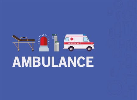 Ambulance stretcher alarm and oxygen cylinders design, Life guard emergency and rescue theme Vector illustration