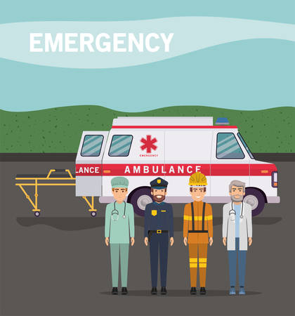 Ambulance paramedic police firefighter and doctor design, Life guard emergency and rescue theme Vector illustration 写真素材 - 148946967