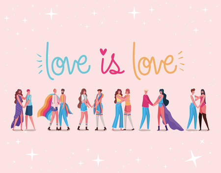Women and men cartoons with costumes and lgtbi love is love text design, Pride day love sexual orientation and identity theme Vector illustration Vettoriali