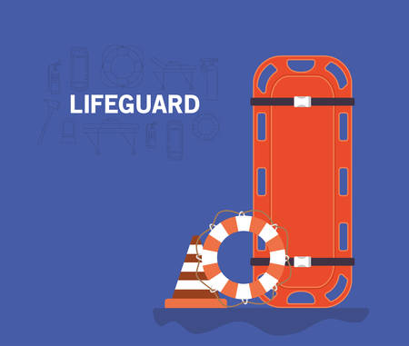 Stretcher lifebuoy and cone design, Life guard emergency and rescue theme Vector illustration 写真素材 - 148986371