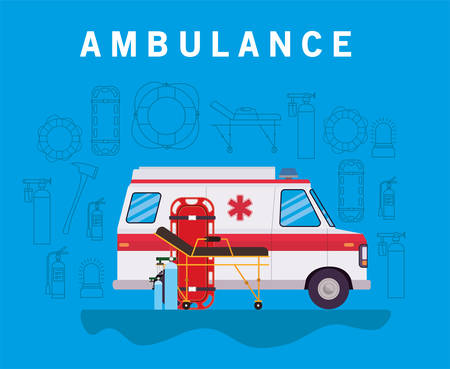 Ambulance paramedic car side view oxygen cylinders and stretcher design, Life guard emergency and rescue theme Vector illustration 写真素材 - 148987218