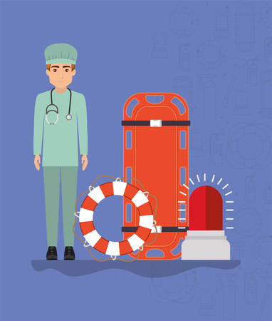 Doctor with stretcher lifebuoy and siren design, Emergency rescue save department 911 danger help safety and aid theme Vector illustration 写真素材 - 148987247
