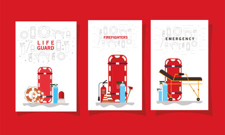 Stretcher lifebuoy oxygen cylinders siren cones extinguisher and axe design, Life guard firefighter emergency and rescue theme Vector illustration