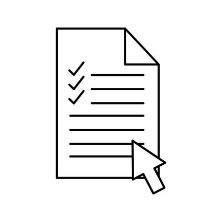 Document with check marks and cursor arrow silhouette style icon design, Data archive and information theme Vector illustration Vectores