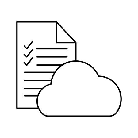 Document with check marks and cloud computing silhouette style icon design, Data archive and information theme Vector illustration