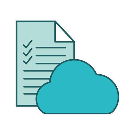 Document with check marks and cloud computing line and fill style icon design, Data archive and information theme Vector illustration Vectores