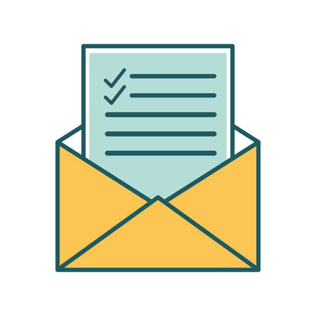 Envelope line and fill style icon design, Message email mail and letter theme Vector illustration