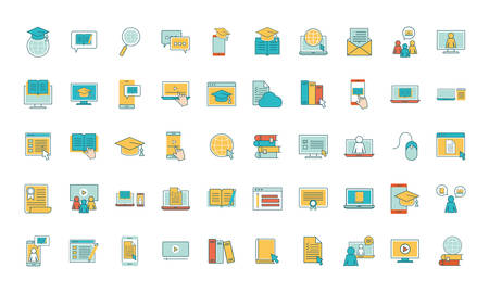 line and fill style icon set design, Education online and elearning theme Vector illustration