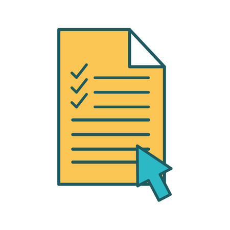Document with check marks and cursor arrow line and fill style icon design, Data archive and information theme Vector illustration