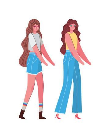 women avatars cartoons with casual cloth design, Woman girl female person and people theme Vector illustration