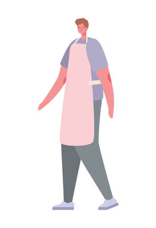Avatar man cartoon with casual cloth and apron design, Boy male person people human social media and portrait theme Vector illustration Illustration