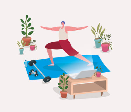 Man doing yoga on mat in front of laptop design of Stay at home theme Vector illustration