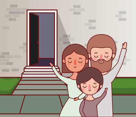 Mother father and son in front of wall with door design, Family relationship and generation theme Vector illustration