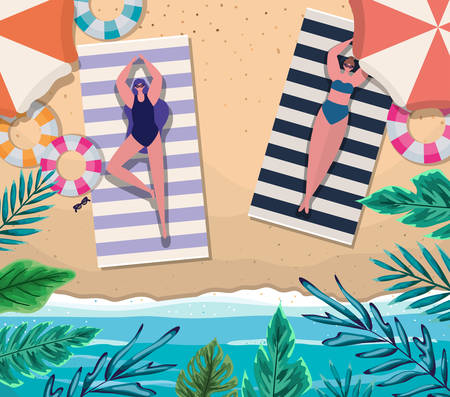 girls cartoons on towels with floats at beach top view design, Summer vacation and tropical theme Vector illustration