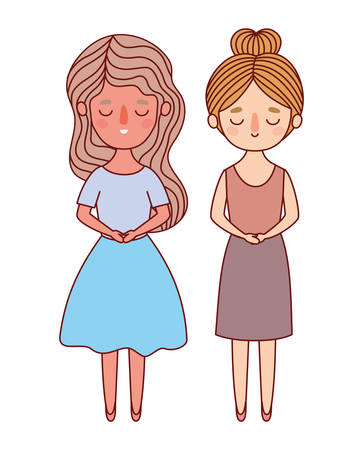 Two women avatars cartoons design, Woman girl female person and people theme Vector illustration
