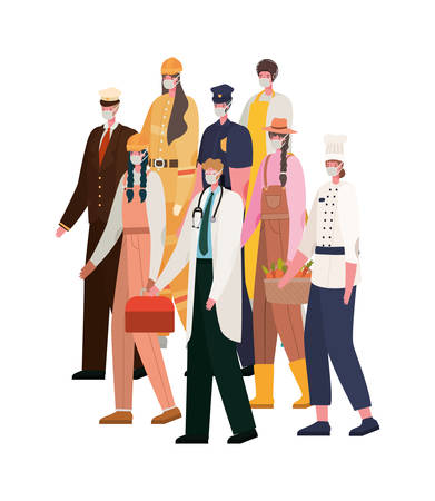 Men and women with masks design, Workers occupation and job theme Vector illustration