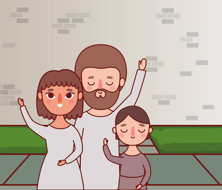 Mother father and daughter in front of wall design, Family relationship and generation theme Vector illustration Illustration