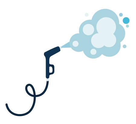 Pulverizer spray hose with smoke design, Hygiene wash health and clean theme Vector illustration