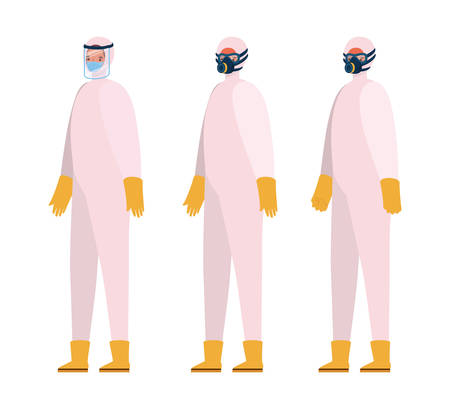 Men with protective suits masks glasses gloves and boots design, Hygiene wash health and clean theme Vector illustration Vectores
