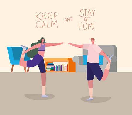 Woman and man cartoons doing exercise design of Stay at home and activities theme Vector illustration Banque d'images - 149593837