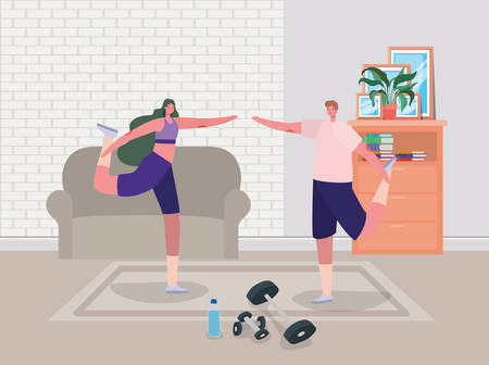 Woman and man cartoons doing exercise design of Stay at home and activities theme Vector illustration Vectores