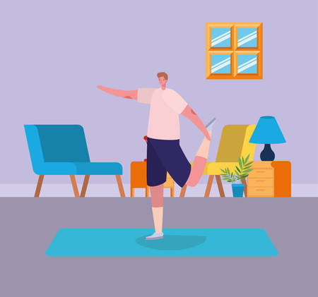Man cartoon doing exercise design of Stay at home and activities theme Vector illustration Banque d'images - 149593892