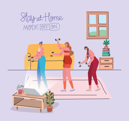 Women doing sport in front of laptop design of Stay at home theme Vector illustration