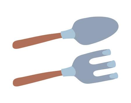 shovel and rake design, Gardening garden planting and nature theme Vector illustration Illustration