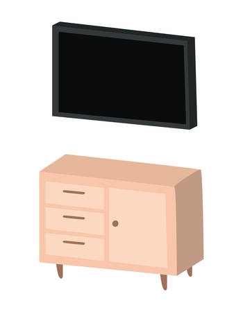 Black tv over furniture design, Television device gadget technology electronic video screen display and home theme Vector illustration