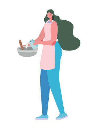 Woman cartoon cooking with bowl and apron design, Cook kitchen eat and food theme Vector illustration Banque d'images - 149594128