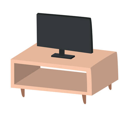 Black tv on furniture design, Television device gadget technology electronic video screen display and home theme Vector illustration