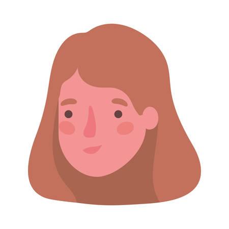 Head woman cartoon design, Girl female person people human and social media theme Vector illustration Illustration