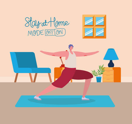 Man cartoon doing exercise design of Stay at home and activities theme Vector illustration